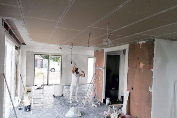 Stucwerk Nieuwbouw Project Verlaagd Plafond Huis